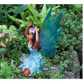 image-Arev Fairy Figurine with Solar Lights Sol 72 Outdoor Colour: Blue/Brown