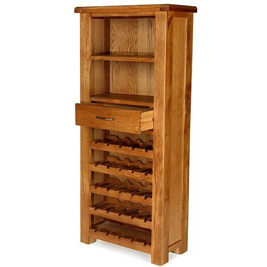 image-Saltaire Oak Furniture Tall Wine Cabinet