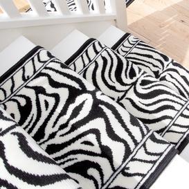 image-Black White Animal Print Stair Carpet Runner - Cut to Measure
