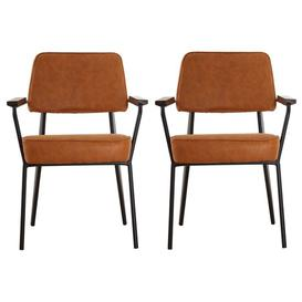 image-Kekoun Vintage Camel Faux Leather Armchairs In Pair