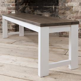 image-Hever Bench in White and Dark Pine