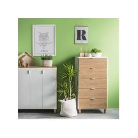 image-Vox Simple Narrow Chest of Drawers - White