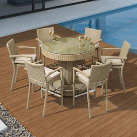 image-Nova Garden Furniture Henley Rattan Willow 6 Seat Round Bar Set with Parasol Hole