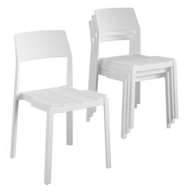 image-Novogratz Furniture Chandler White Indoor/Outdoor Poolside Collection 4 Pack Stacking Dining Chairs
