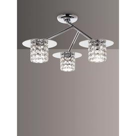 image-Impex Veta LED Crystal Semi Flush Ceiling Light, Clear/Chrome