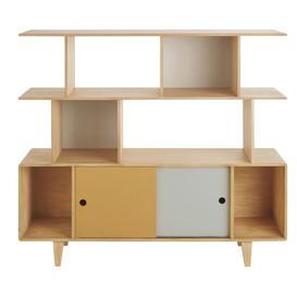 image-Children's Triple-Tone Bookcase with 2 Sliding Doors