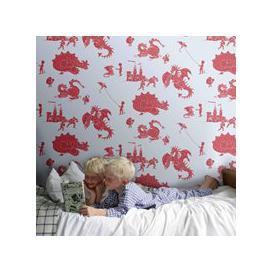 image-Designer Kids Wallpaper- 'Ere-Be-Dragons' in Red