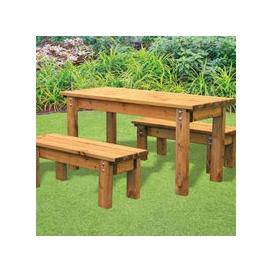 image-Little Fellas 4 Seat Redwood Kids ECO Garden Bench & Table