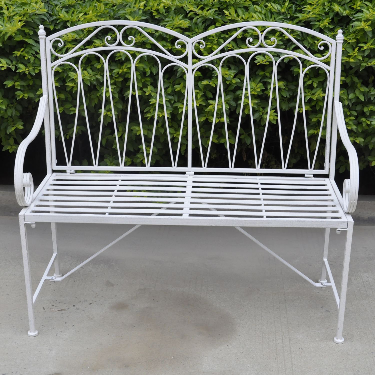 image-Royalcraft Garden Metal Romance Antique White 2 Seater Bench