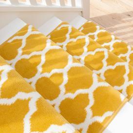 image-Yellow Trellis Stair Carpet Runner - Cut to Measure