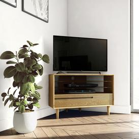 image-Scandic Solid Oak Furniture Corner TV Unit