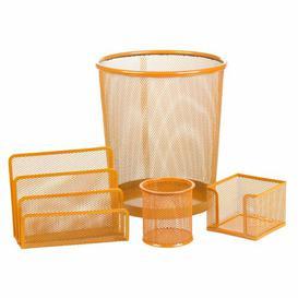 image-Bever 4 Piece Desk Organiser Set Rebrilliant Colour: Orange