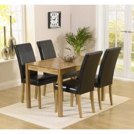 image-Promo Oak Furniture 120cm Dining Table & 4 Black Atlanta Chairs