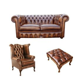 image-Wellsville Chesterfield 3 Piece Leather Sofa set Rosalind Wheeler Upholstery Colour: Antique Tan