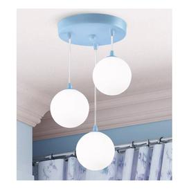 image-Kids Wall Hung 3 Pendant Light In Blue With White Opal Glass