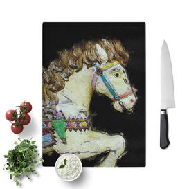 image-Tempered Glass Vintage Rocking Horse in Abstract Chopping Board East Urban Home Size: 28.5 cm W x 39 cm L