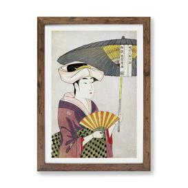 image-'Woman with a Parasol' by Kitagawa Utamaro - Picture Frame Graphic Art Print on Paper East Urban Home Size: 63cm H x 45cm W x 2cm D, Frame Option: Wal