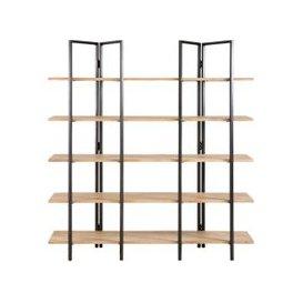 image-Mango Wood and Black Metal Industrial Shelf Stoke