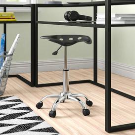 image-Height-Adjustable Office Stool Zipcode Design Colour: Black