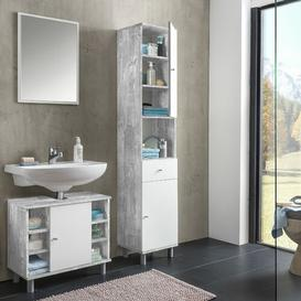 image-Charnley 3 Piece Bathroom Furniture Set with Mirror Mercury Row Colour: Concrete and white melamine