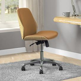 image-Vikena Faux Leather Office Chair In Oak And Tan