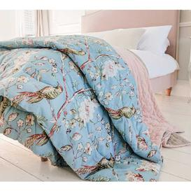 image-Birds and Blossom Blue Cotton Quilted Bedspread