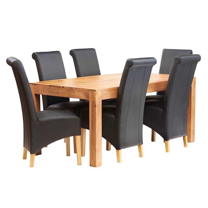 image-Toko Light Mango Furniture Large 6ft Dining Room Table