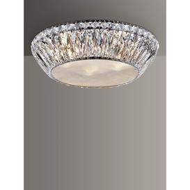 image-Impex Armel LED Crystal Semi Flush Small Ceiling Light, Clear/Chrome
