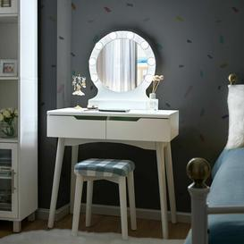 image-Jazlyn Dressing Table Set with Mirror Isabelline (Body/Front) Colour: White/White