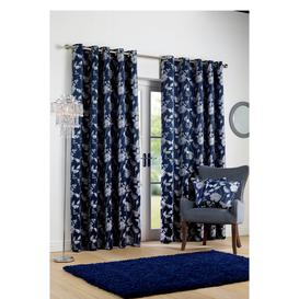 image-Butterfly Jacquard Lined Eyelet Curtains
