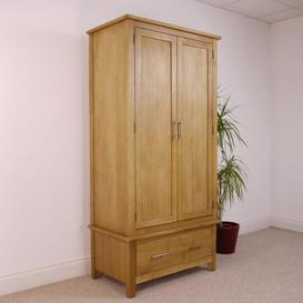 image-Oak City - NEW Nebraska Oak 2 Door 1 Drawer Wardrobe