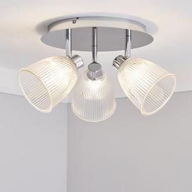 image-Bremont 3 Light Ribbed Glass Bathroom Spotlight Clear, Chrome