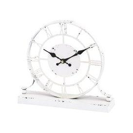 image-Libra Antique Cream Skeleton Mantel Clock