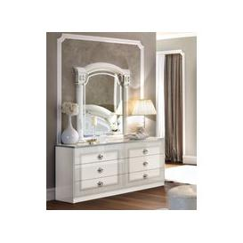 image-Camel Aida White and Silver Italian Double Dresser