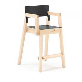 image-Tall children's chair LOVE with armrests, H 500 mm, birch, black laminate