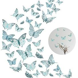 image-48Pcs 3D Butterfly Wall Decals Sticker, MOTASOM Metallic Hollow-Out Art Decorations, Removable Mural DIY Home Decor for Kids Girls Bedroom Nursery Party Wedding (3 Styles+Indigo) - Brand New