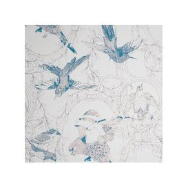 image-Taxidermy Birds Hand Printed Wallpaper (colour: Petrol)