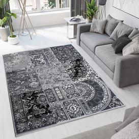 image-Black Grey Traditional Patchwork Living Room Rug - Milan