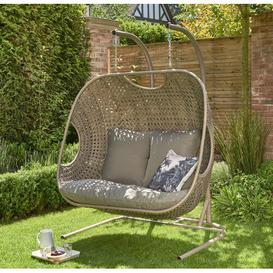 image-Ponce Double Swing Chair with Stand Bay Isle Home Colour: Beige