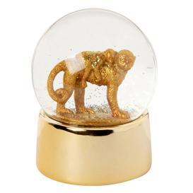 image-Monkey snow globe in gold ceramic