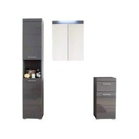 image-Amanda LED Bathroom Mirror And Storage In Grey High Gloss