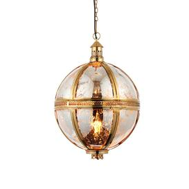 image-Endon 69777 Vienna 1 Light Ceiling Pendant - Large - In Brass And Mercury Glass.  Diameter - 410mm