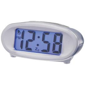 image-Acctim Eclipse Solar Dual Power Smartlite Digital Alarm Clock, Silver