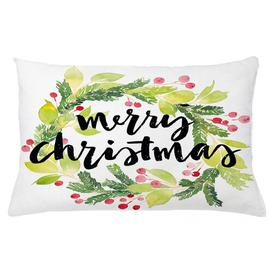 image-Isulf Christmas Watercolour Wreath Outdoor Cushion Cover Ebern Designs Size: 40cm H x 65cm W