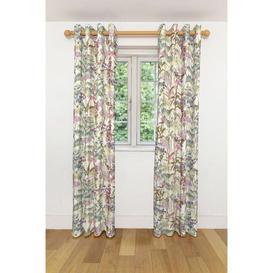 """image-Wildflower Pastel Purple Linen Curtains, 351cm(w) x 137cm(d) (138"""" x 54"""")"""