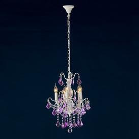 image-Audra 5-Light Crystal Chandelier Rosdorf Park Colour: Cream Crack/Purple