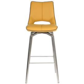 image-Shankar Mako Yellow Leather Match Swivel Bar Chair