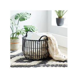 image-Wicker Black Storage Basket Black