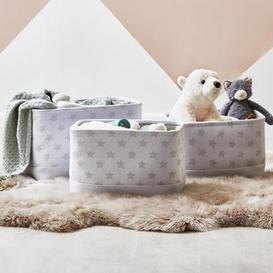image-Beautiful Basics Grey Star Patterned Pack of Three Storage Baskets Grey