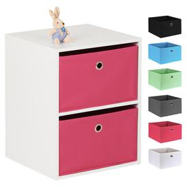 image-Hartleys White 2 Cube Kids Storage Unit & 2 Easy Grasp Box Drawers - Pink
